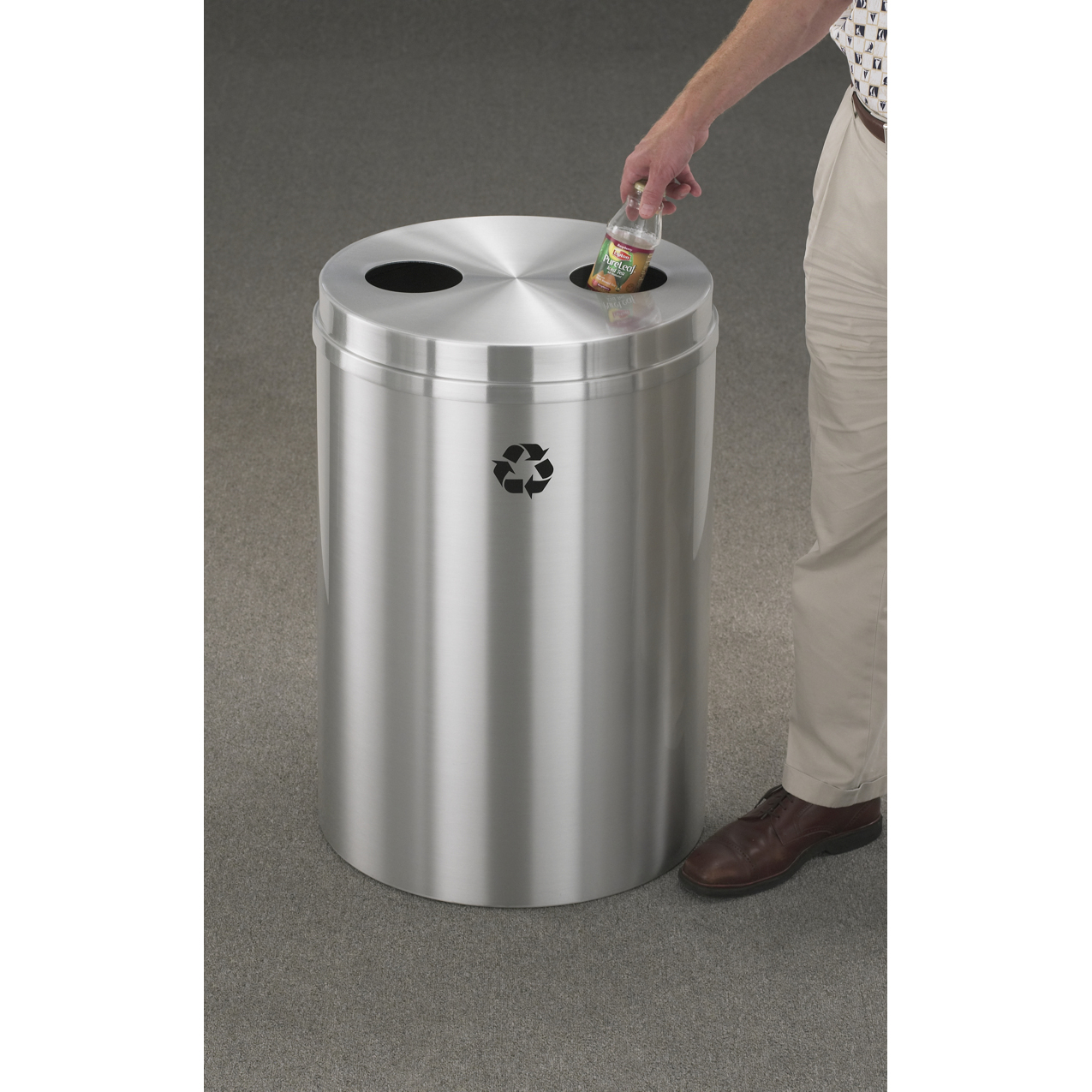 dual opening 33 gallon satin aluminum glaro recycling bin recycle away. Black Bedroom Furniture Sets. Home Design Ideas
